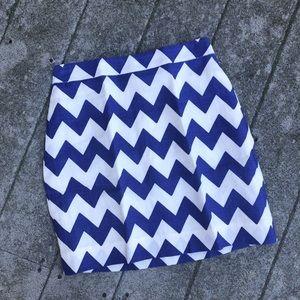 Kate Spade Robbie Blue White Chevron Skirt Size 4